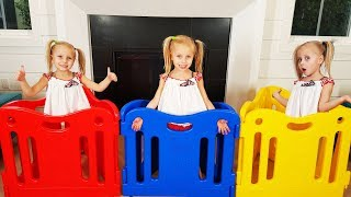 Cute girl plays with Kids toys Fun play area for kids Alisa Pretend play with Finger family