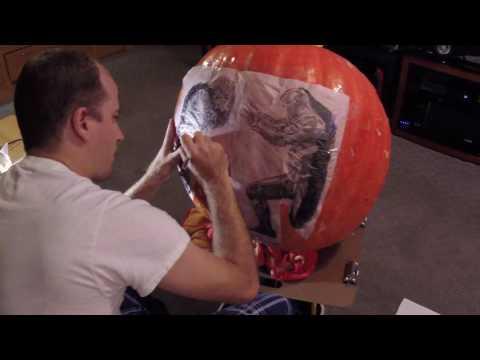 Time-lapse of pumpkin pattern transfer