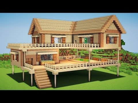 Minecraft: Large Wooden House Tutorial - How to Build a Survival House in Minecraft / Easy /