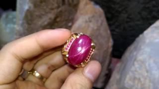 Nhẫn nam vàng 18k đính đá Ruby sao Lục Yên màu đỏ nhức nhối