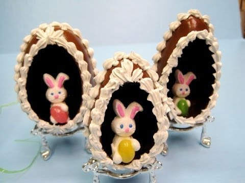 Faux Chocolate eggs Decorated with Bunnies and Roses ~ Featuring Miriam Joy