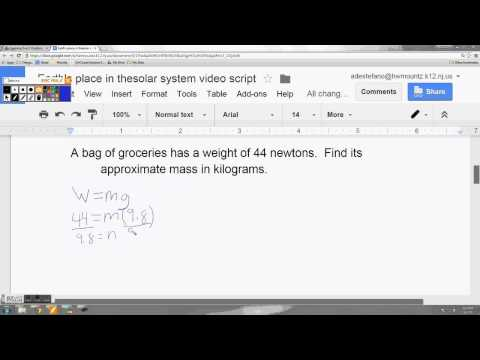 Calculating Mass and Weight