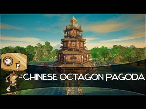 Minecraft Let's Build - a Chinese Octagon Pagoda! Part 2