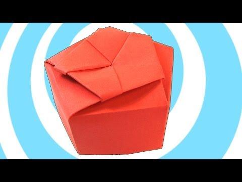 Paper Origami Pentagonal Gift Box Instructions
