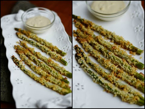 Baked Asparagus in Panko Crumbs. Quick Recipe