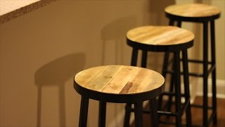 Steel Bar Stools with Reclaimed Wood Top!