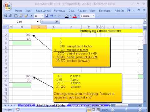 Excel Busn Math 12: Multiplying & Dividing In Excel
