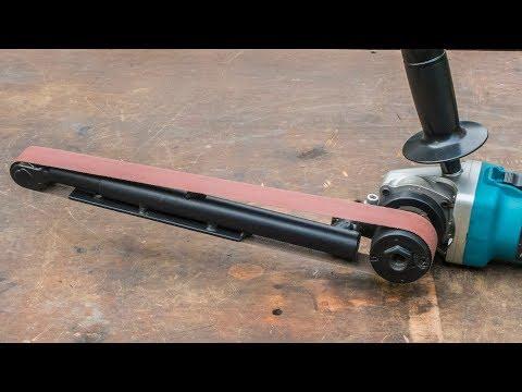 Angle grinder hack, large homemade power file belt sander