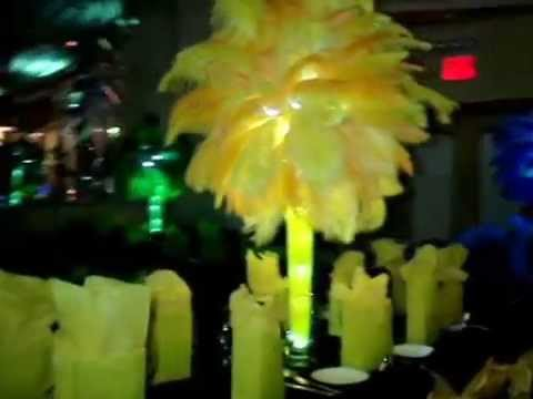 Rio Brazilian Carnivale Themed Ostrich Feather Centerpieces by Sweet 16 Candelabras