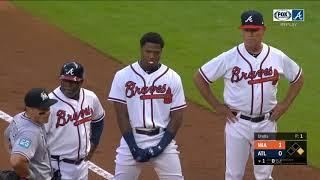 Jose Urena intentionally hits Ronald Acuna Jr on first pitch of the game 08/15/18