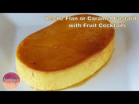Leche Flan or Caramel Custard with Fruit Cocktails