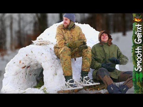 Winter Camping in a Quinzee Survival Shelter - How to build one!