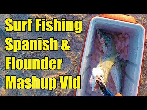 Surf Fishing for Spanish Mackerel, Flounder, Trout and Striper Mashup.