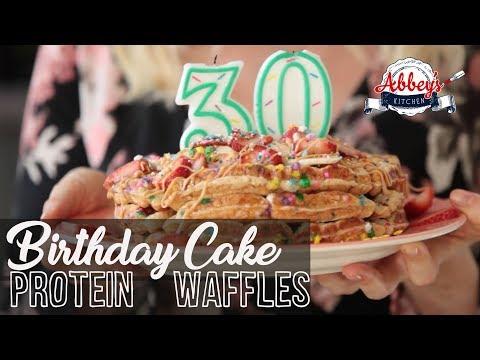 Healthy BIRTHDAY Cake PROTEIN Waffles | Gluten Free Breakfast Recipe
