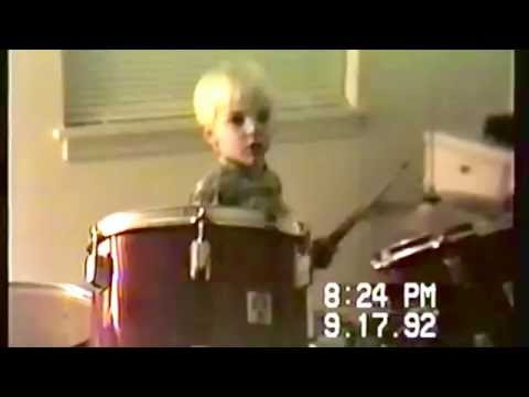 Donnie Marple playing drums at age 5