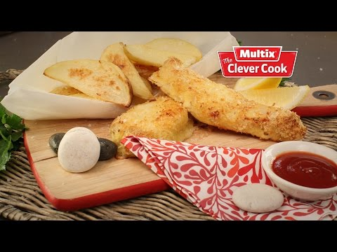 Low fat fish fingers with oven cooked potato wedges