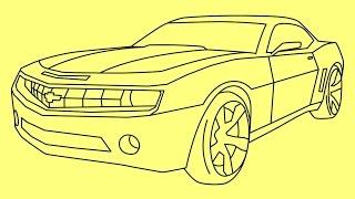 How to draw a car Chevrolet Camaro Transformers Bumblebee Vehicle Mode - Как нарисовать машину Бамблби Шевроле Камаро - Wie man ein Auto Chevrolet Camaro Transformers Bumblebee ziehen - Cómo dibujar un coche Chevrolet Camaro Transformers Bumblebee - Como desenhar um carro Chevrolet Camaro Transformers Bumblebee