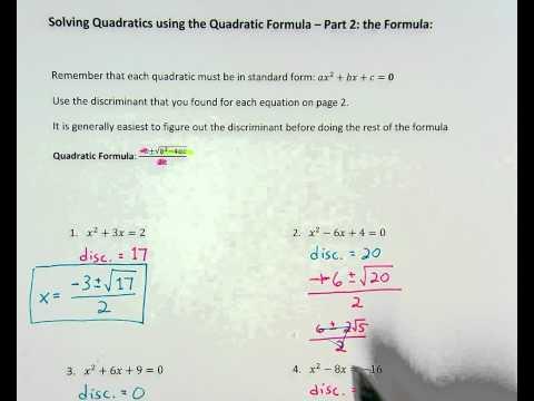 Quadratic Formula ex. 2 (two real solutions)