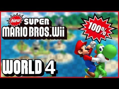 New Super Mario Bros Wii - World 4 (Ocean) 100% multiplayer walkthrough