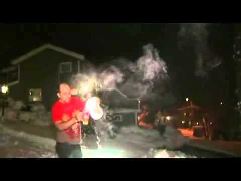 Boiling water freezing in one second outdoors in Cold Norway