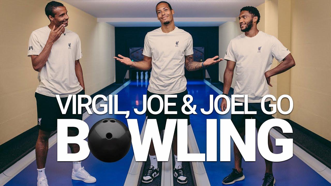 Virgil, Joe & Joel go bowling   Liverpool defenders' Kegel challenge