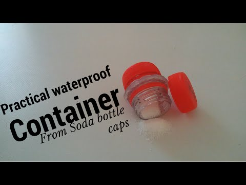 Diy Waterproof survival container from recycled soda bottle caps