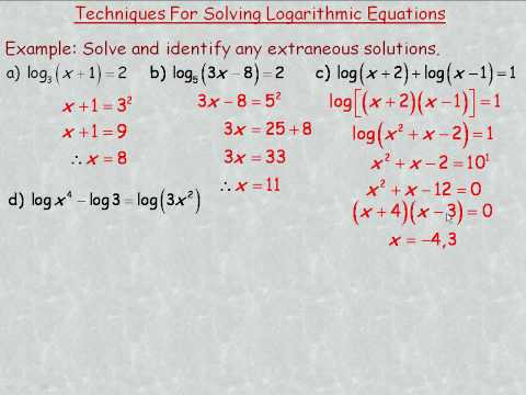 Techniques for Solving Logarithmic Equations