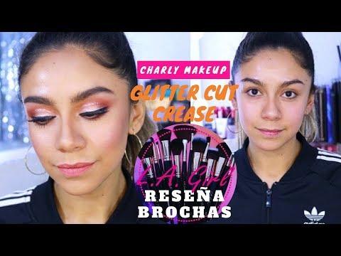 Tutorial  GLITTER CUT CREASE y reseña de NUEVAS BROCHAS de LA Girl GDL | Charly Makeup