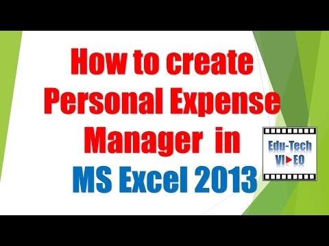 How to create Personal Expense Manager in MS Excel 2013