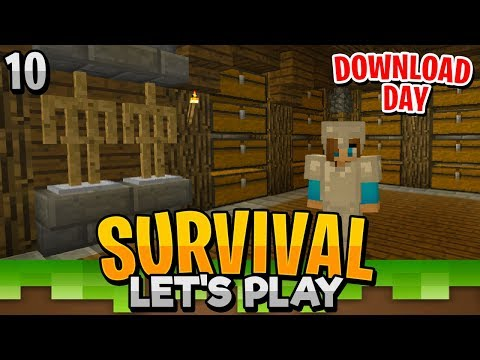 WORKING ON A CHEST ROOM!! - Minecraft Bedrock Survival Let's Play EP.10 DOWNLOAD DAY! (PE/WIN10)