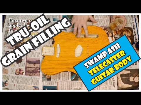 Grain filling and finishing a swamp ash Telecaster guitar body with TRU-OIL  [3/11]