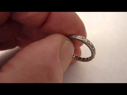 Small  Antique Platinum & Diamond Eternity Ring. Size. H/I