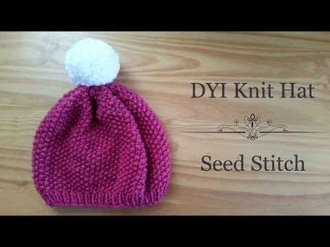 How to Knit Women's Hat (Seed Stitch)