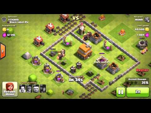 COC Monk Vs YCharo going for the loot Clash of Clans Game play