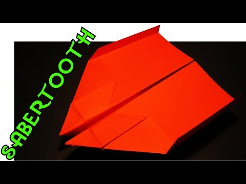 How To Make A Paper Airplane - BEST STUNT PLANE  / Sabertooth