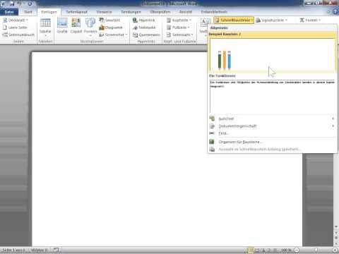 Microsoft Word 2010 Bausteine finden und verwenden