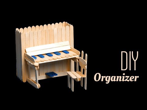 DIY piano pen holder and chair with pop sticks | Popsicle stick craft ideas | Beads art