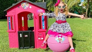 Download Stacy pretend play with pink playhouse and toys Video