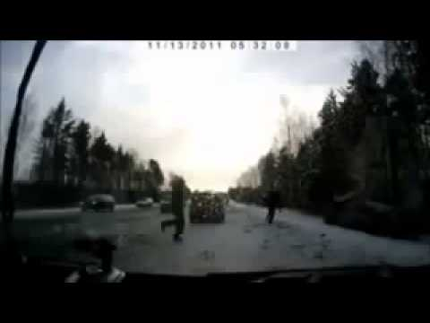 Russian car crashes in snow falling