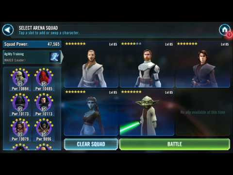 SWGOH Arena: QGJ Zeta & GK Jedi vs SWBro Droids Team