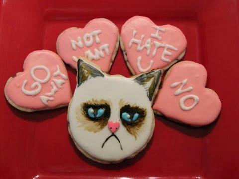 Grumpy Cat Valentines Day Cookies - QNB