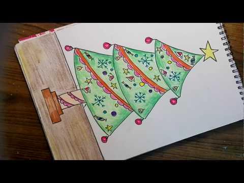 How to draw christmas tree easy way - Christmas tree drawing 1