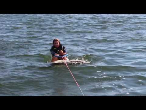 Getting Up On Skimboard Behind Boat (Skurfing)