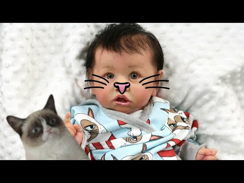 Reborn Baby Gets Changed Into Purl Lamb Grumpy Cat Outfit - My Life Like Doll