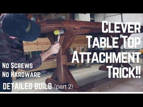 Table Top Build + Genius Method of Attaching Top To Base | Woodworking | How To | Tip | Trick