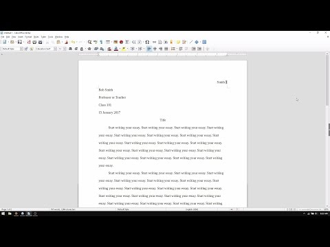 LibreOffice Writer: How to Set Up an MLA Format Essay (2017)