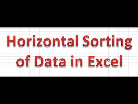 How to Horizontal Sort of Data in Excel