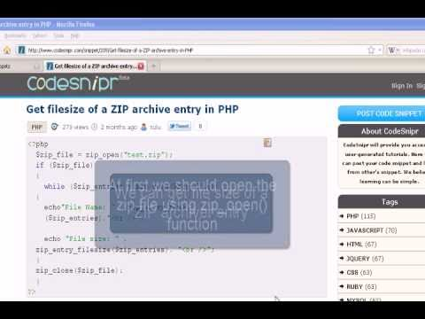 PHP Tutorial :Get filesize of a ZIP archive entry in PHP