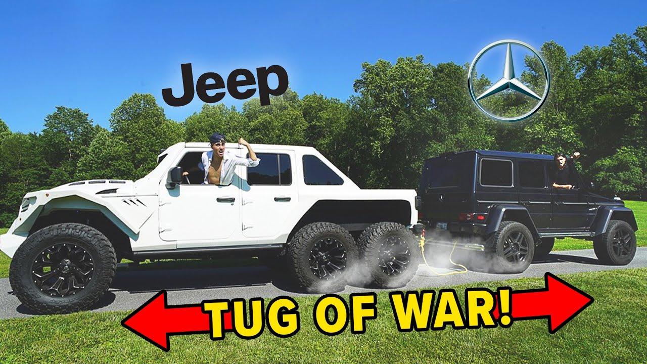 6x6 Jeep vs Mercedes G550 4x4 Squared - TUG OF WAR!