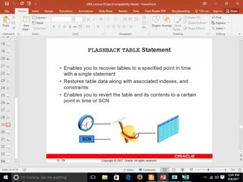 Drop Table and Flashback Table Statements